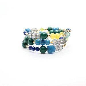 Jewelry - Gold Blue Green Gray Beaded Wire Wrap Bangle